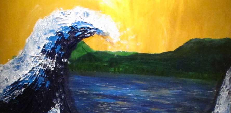 Pièce d'art des vagues qui percutent le paysage